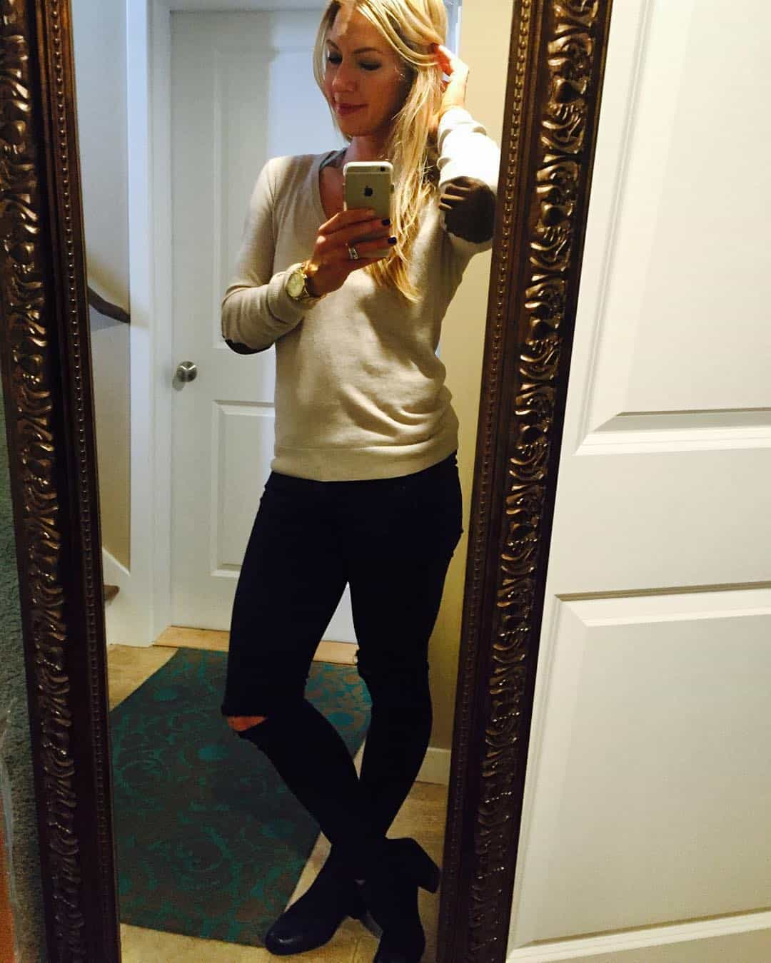 womens clothing, Elbow patches, ripped knees and booties! Yay for a kid-free mommy morning. The fastest 3 hrs I've ever had ;) #workingmom #heels #dressed #noyogapantsforabit