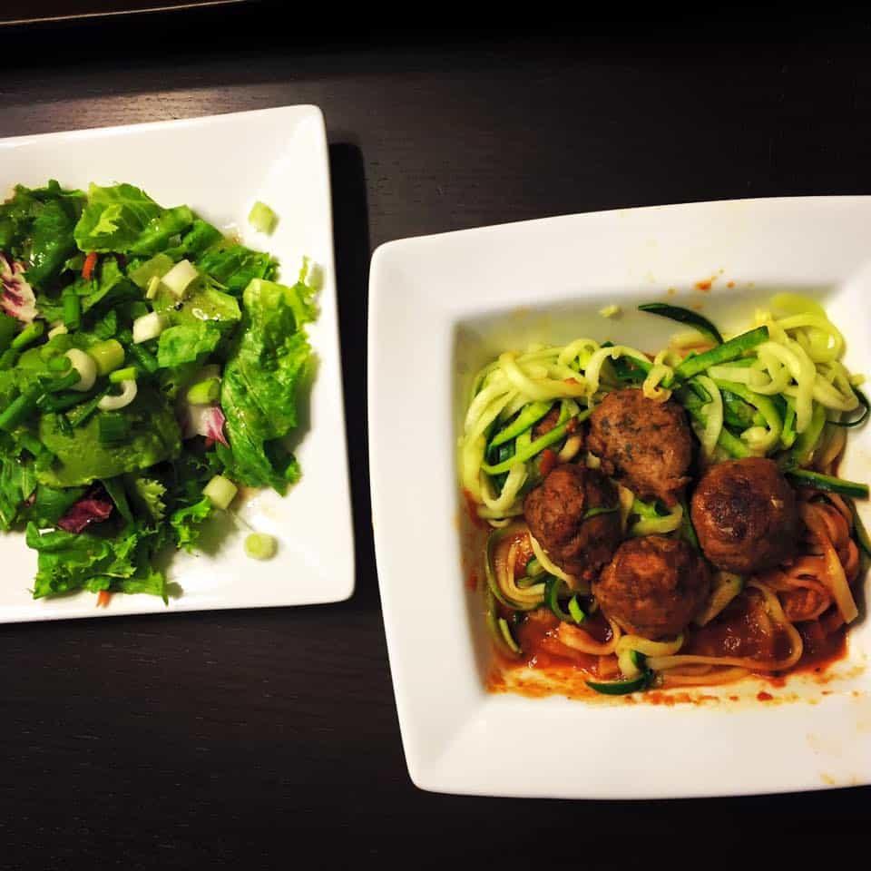 gluten-free dinner, gluten-free meal plan, zucchini noodles