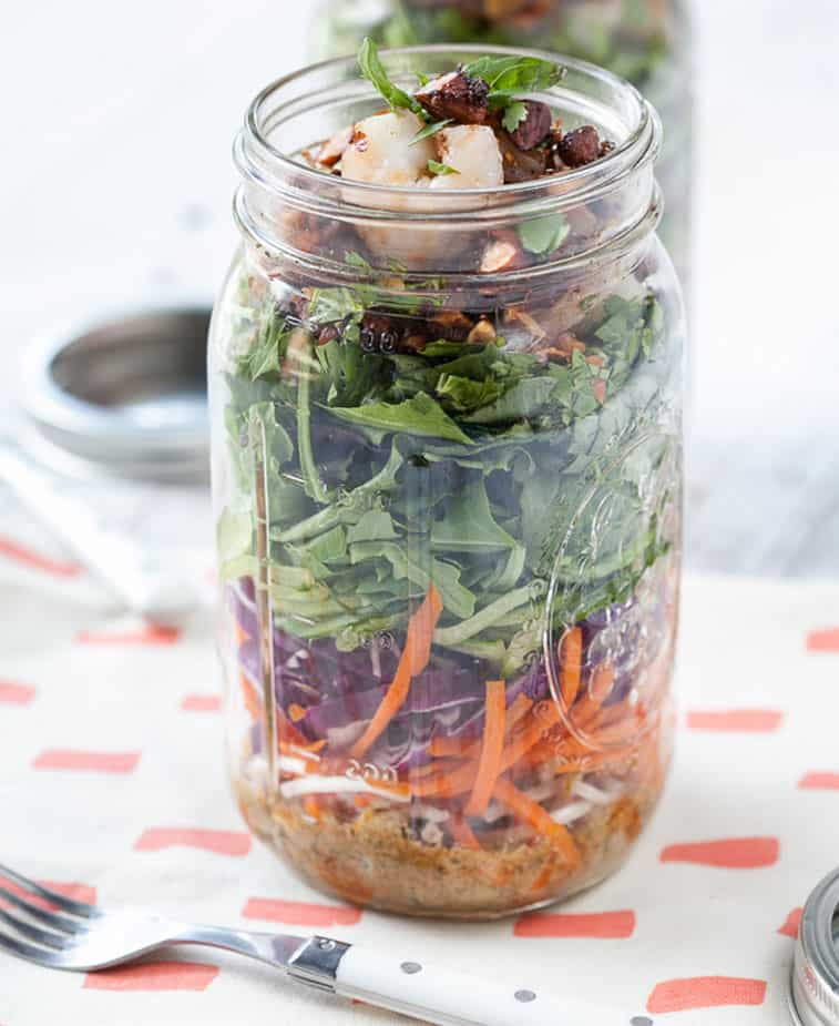 mason jar salad, Thai-Shrimp-Salad-With-Almond-Dressing-MAson-Jar-Salad