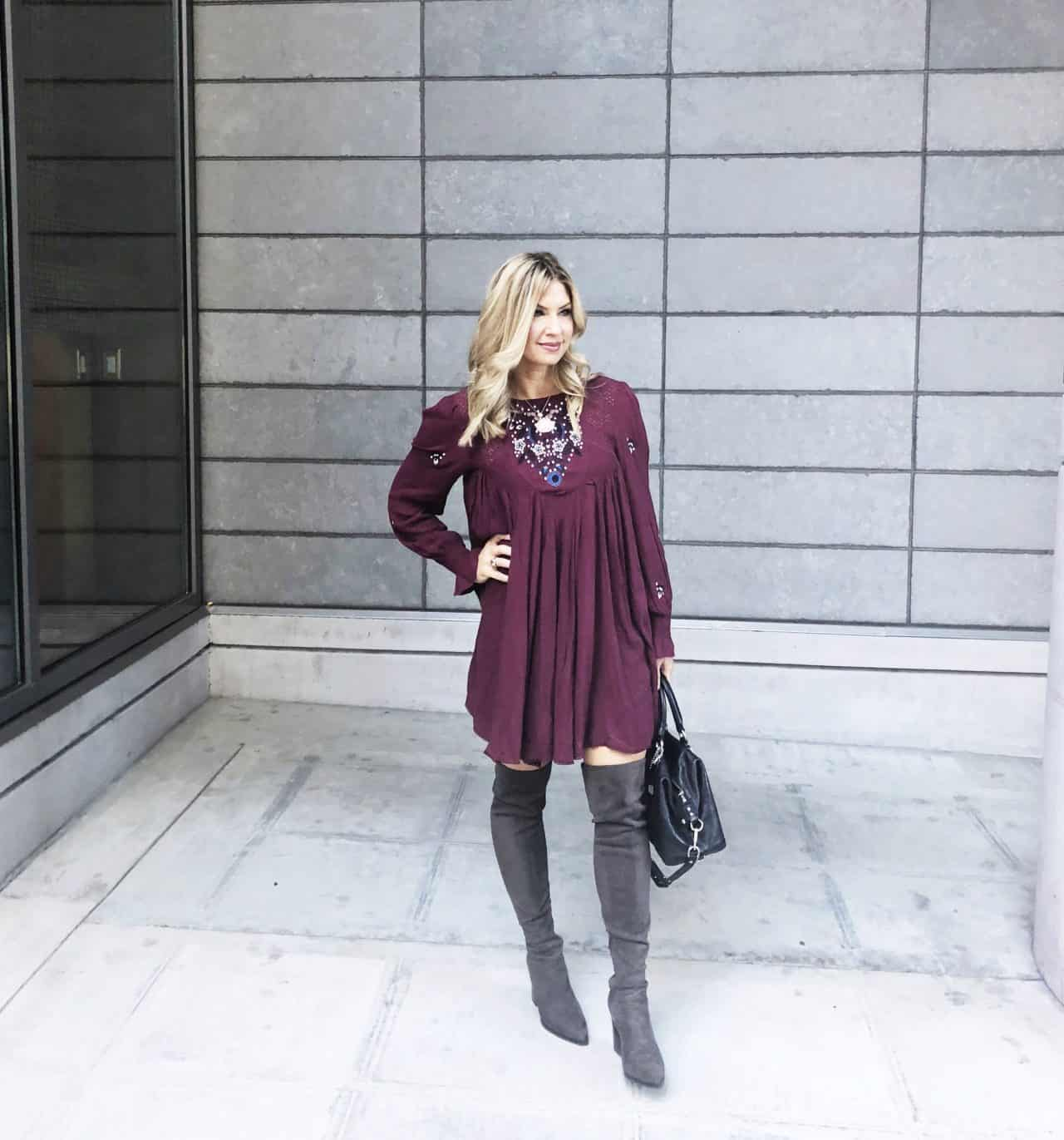 Free People Embroidered Minidress, knee high boots, flowy dress, grey boots, grey knee high boots, free people, free people clothes, free people dress,